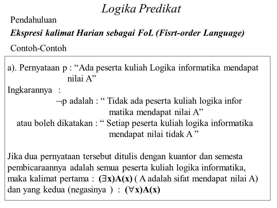 """Logika Predikat Pendahuluan Ekspresi kalimat Harian sebagai FoL (Fisrt-order Language) Contoh-Contoh a). Pernyataan p : """"Ada peserta kuliah Logika inf"""