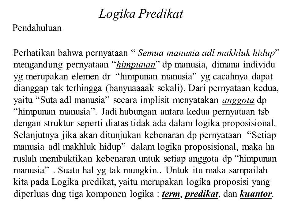 Pendahuluan Ekspresi kalimat Harian sebagai FoL (Fisrt-order Language) Contoh-Contoh Logika Predikat c).
