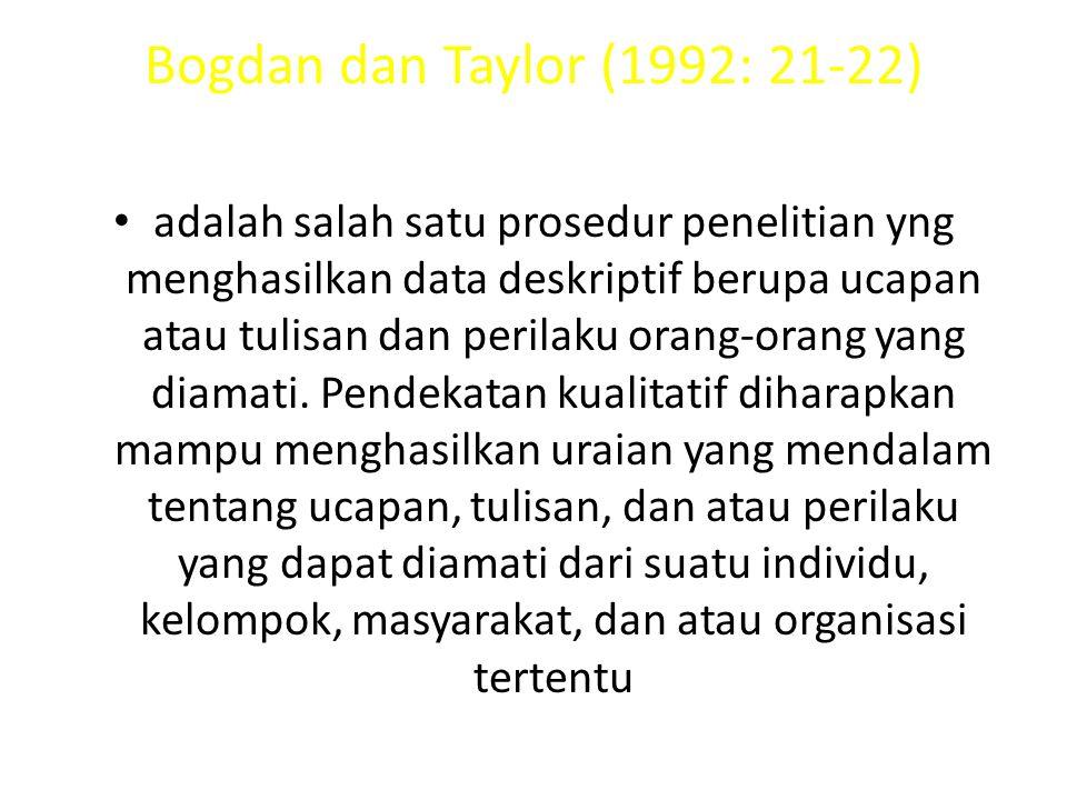 Bogdan dan Taylor (1992: 21-22) adalah salah satu prosedur penelitian yng menghasilkan data deskriptif berupa ucapan atau tulisan dan perilaku orang-orang yang diamati.