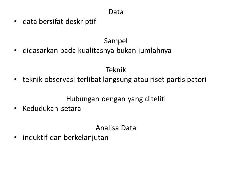 Data data bersifat deskriptif Sampel didasarkan pada kualitasnya bukan jumlahnya Teknik teknik observasi terlibat langsung atau riset partisipatori Hubungan dengan yang diteliti Kedudukan setara Analisa Data induktif dan berkelanjutan