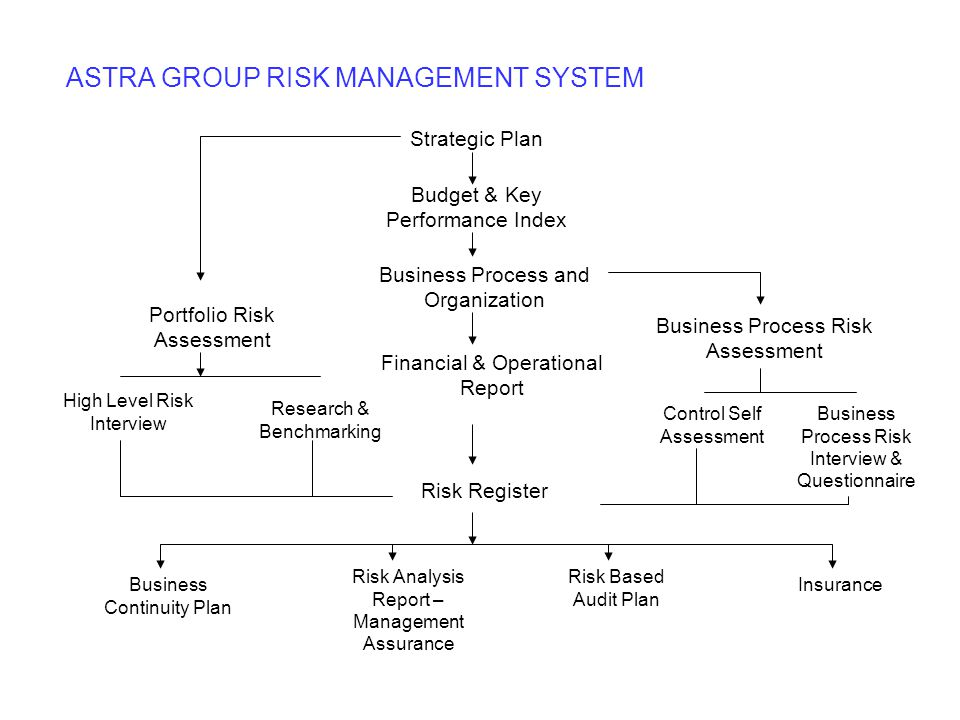 ASTRA GROUP RISK MANAGEMENT SYSTEM Strategic Plan Budget & Key Performance Index Business Process and Organization Financial & Operational Report Busi