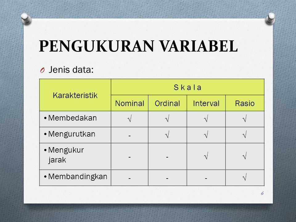 SKALA SOSIOMETRI O Merupakan alat observasi untuk mengukur variabel-variabel sosial, misalnya pengukuran sikap sosial, moral, status, lingkungan rumah tangga, partisipasi, dan sebagainya.