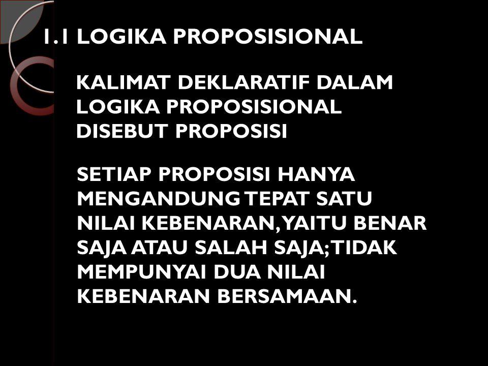1.1 LOGIKA PROPOSISIONAL KALIMAT DEKLARATIF DALAM LOGIKA PROPOSISIONAL DISEBUT PROPOSISI SETIAP PROPOSISI HANYA MENGANDUNG TEPAT SATU NILAI KEBENARAN,