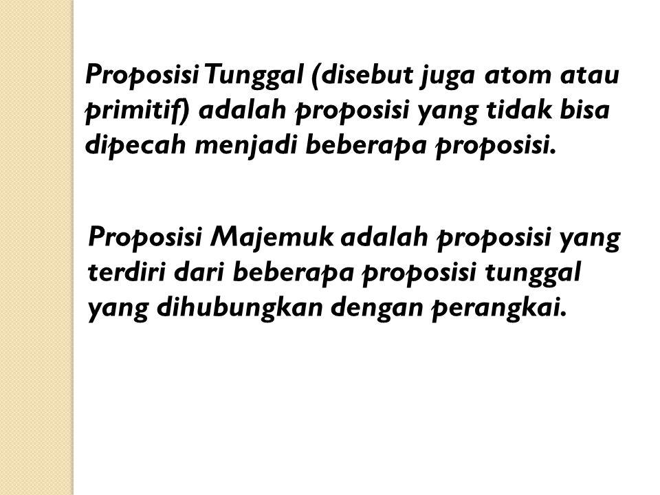 Proposisi Tunggal (disebut juga atom atau primitif) adalah proposisi yang tidak bisa dipecah menjadi beberapa proposisi. Proposisi Majemuk adalah prop