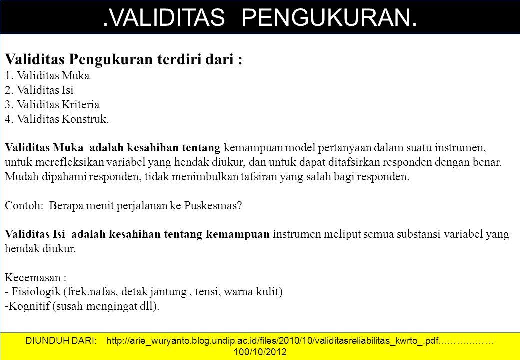 DATA DAN INFORMASI.VALIDITAS PENGUKURAN. Validitas Pengukuran terdiri dari : 1. Validitas Muka 2. Validitas Isi 3. Validitas Kriteria 4. Validitas Kon