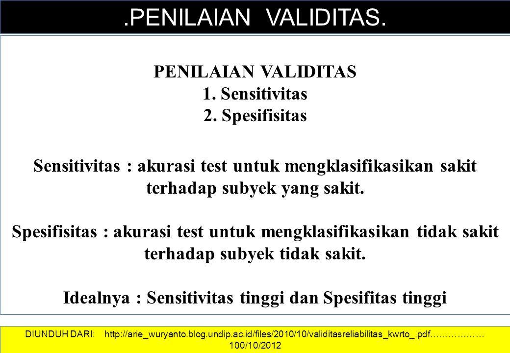 DATA DAN INFORMASI.PENILAIAN VALIDITAS. PENILAIAN VALIDITAS 1. Sensitivitas 2. Spesifisitas Sensitivitas : akurasi test untuk mengklasifikasikan sakit