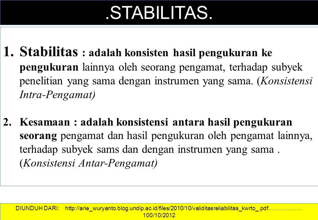 DATA DAN INFORMASI.STABILITAS. 1.Stabilitas : adalah konsisten hasil pengukuran ke pengukuran lainnya oleh seorang pengamat, terhadap subyek penelitia