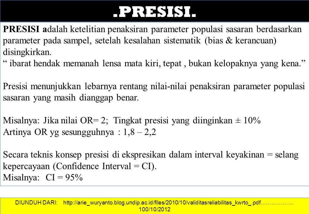 DATA DAN INFORMASI.PRESISI. PRESISI adalah ketelitian penaksiran parameter populasi sasaran berdasarkan parameter pada sampel, setelah kesalahan siste