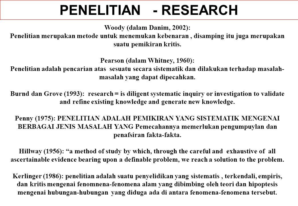 Woody (dalam Danim, 2002): Penelitian merupakan metode untuk menemukan kebenaran, disamping itu juga merupakan suatu pemikiran kritis. Pearson (dalam