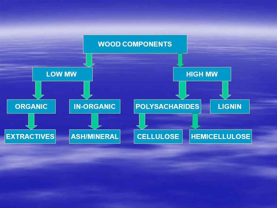 WOOD COMPONENTS LOW MWHIGH MW ORGANICIN-ORGANICPOLYSACHARIDESLIGNIN EXTRACTIVESASH/MINERALCELLULOSEHEMICELLULOSE