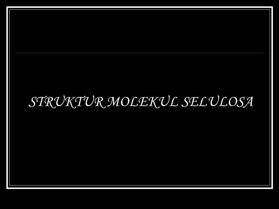 MONOMER Rumus dasar molekul selulosa : (C 6 H 10 O 5 ) n Monomer β-D-Glukopiranosa Mills projection
