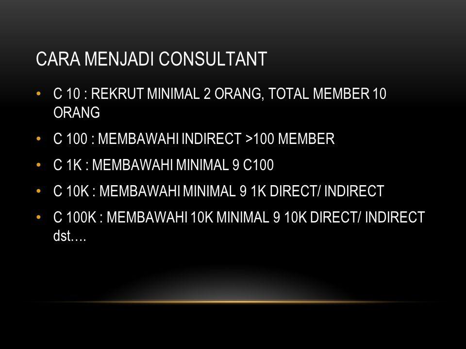 CARA MENJADI CONSULTANT C 10 : REKRUT MINIMAL 2 ORANG, TOTAL MEMBER 10 ORANG C 100 : MEMBAWAHI INDIRECT >100 MEMBER C 1K : MEMBAWAHI MINIMAL 9 C100 C