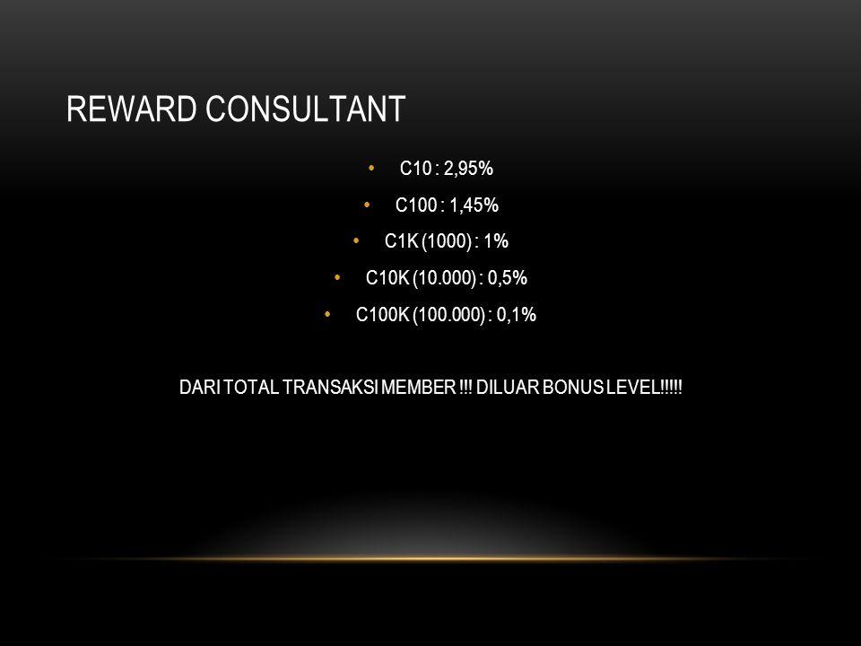 REWARD CONSULTANT C10 : 2,95% C100 : 1,45% C1K (1000) : 1% C10K (10.000) : 0,5% C100K (100.000) : 0,1% DARI TOTAL TRANSAKSI MEMBER !!! DILUAR BONUS LE