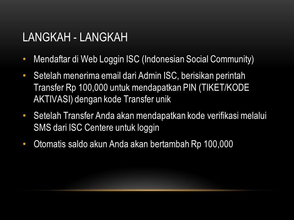 LANGKAH - LANGKAH Mendaftar di Web Loggin ISC (Indonesian Social Community) Setelah menerima email dari Admin ISC, berisikan perintah Transfer Rp 100,