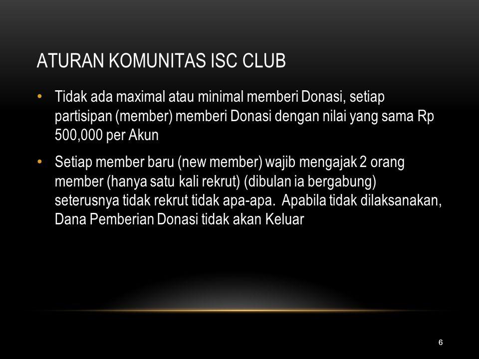 6 ATURAN KOMUNITAS ISC CLUB Tidak ada maximal atau minimal memberi Donasi, setiap partisipan (member) memberi Donasi dengan nilai yang sama Rp 500,000