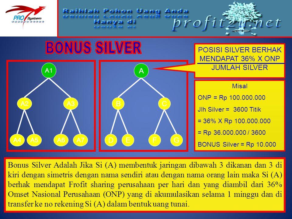 A1 A2A3 A6A7A5A4 Misal ONP = Rp 100.000.000 Jlh Silver = 3600 Titik = 36% X Rp 100.000.000 = Rp 36.000.000 / 3600 BONUS Silver = Rp 10.000 Bonus Silve