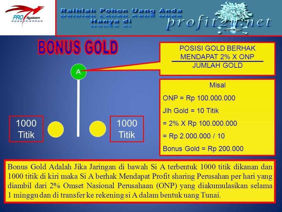 A 1000 Titik Misal ONP = Rp 100.000.000 Jlh Gold = 10 Titik = 2% X Rp 100.000.000 = Rp 2.000.000 / 10 Bonus Gold = Rp 200.000 Bonus Gold Adalah Jika J
