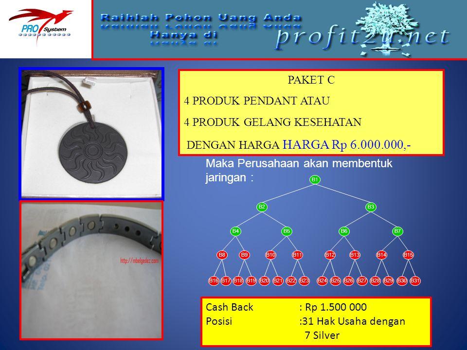 PAKET C 4 PRODUK PENDANT ATAU 4 PRODUK GELANG KESEHATAN DENGAN HARGA HARGA Rp 6.000.000,- Maka Perusahaan akan membentuk jaringan : Cash Back: Rp 1.50