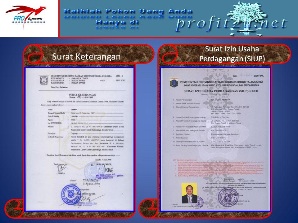Surat Izin Usaha Perdagangan (SIUP) Surat Keterangan