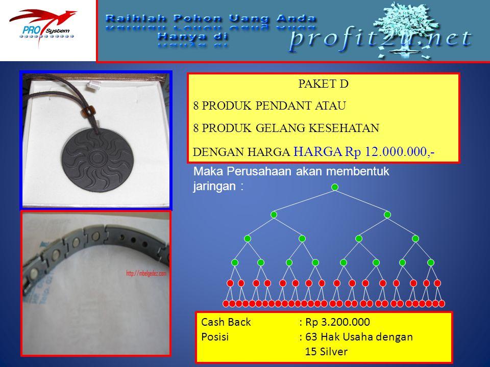 PAKET D 8 PRODUK PENDANT ATAU 8 PRODUK GELANG KESEHATAN DENGAN HARGA HARGA Rp 12.000.000,- Maka Perusahaan akan membentuk jaringan : Cash Back: Rp 3.2