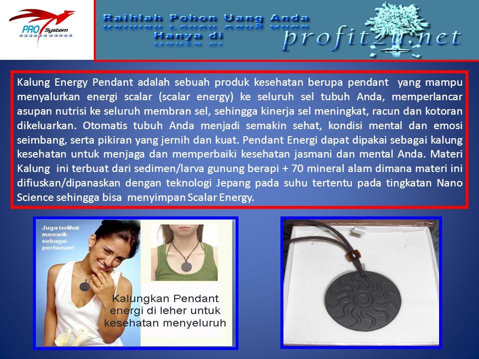 Kalung Energy Pendant adalah sebuah produk kesehatan berupa pendant yang mampu menyalurkan energi scalar (scalar energy) ke seluruh sel tubuh Anda, me