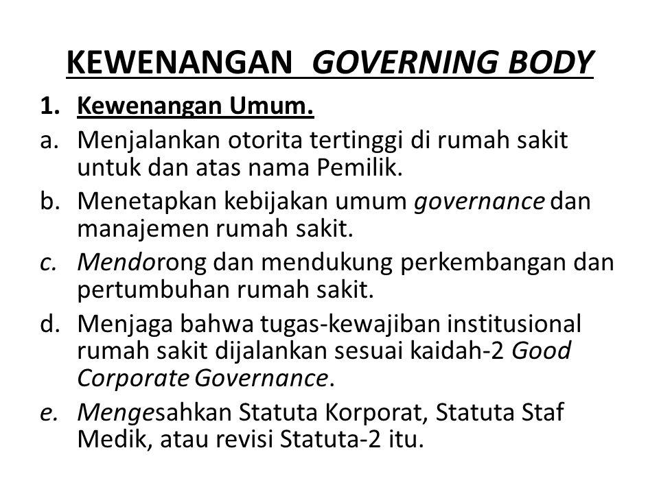 KEWENANGAN GOVERNING BODY 1.Kewenangan Umum.