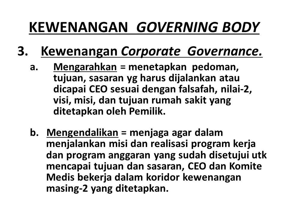 KEWENANGAN GOVERNING BODY 3.Kewenangan Corporate Governance.