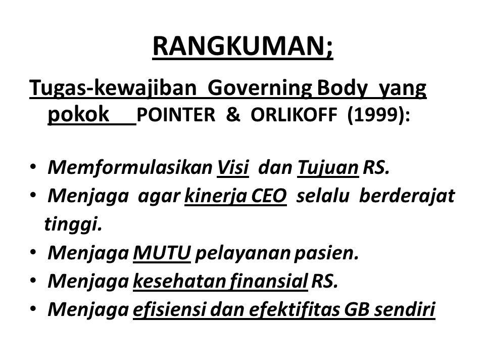 RANGKUMAN; Tugas-kewajiban Governing Body yang pokok POINTER & ORLIKOFF (1999): Memformulasikan Visi dan Tujuan RS.