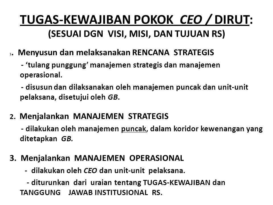 TUGAS-KEWAJIBAN POKOK CEO / DIRUT: (SESUAI DGN VISI, MISI, DAN TUJUAN RS) 1.