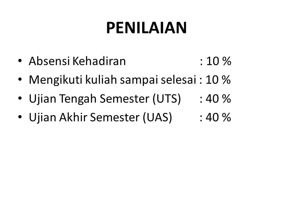 PENILAIAN Absensi Kehadiran : 10 % Mengikuti kuliah sampai selesai : 10 % Ujian Tengah Semester (UTS) : 40 % Ujian Akhir Semester (UAS) : 40 %