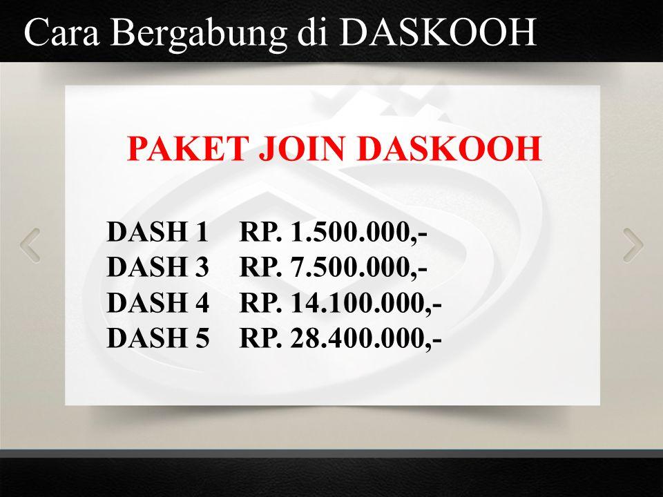 Cara Bergabung di DASKOOH PAKET JOIN DASKOOH DASH 1RP. 1.500.000,- DASH 3RP. 7.500.000,- DASH 4RP. 14.100.000,- DASH 5RP. 28.400.000,-