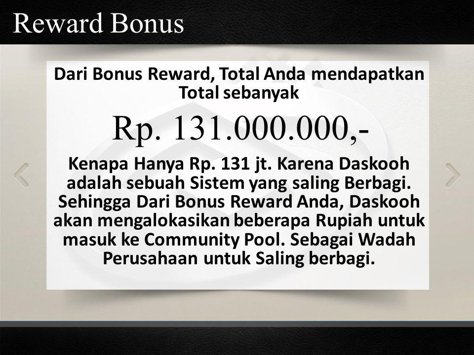 Dari Bonus Reward, Total Anda mendapatkan Total sebanyak Kenapa Hanya Rp. 131 jt. Karena Daskooh adalah sebuah Sistem yang saling Berbagi. Sehingga Da