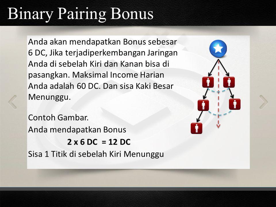 Binary Pairing Bonus Anda akan mendapatkan Bonus sebesar 6 DC, Jika terjadiperkembangan Jaringan Anda di sebelah Kiri dan Kanan bisa di pasangkan. Mak