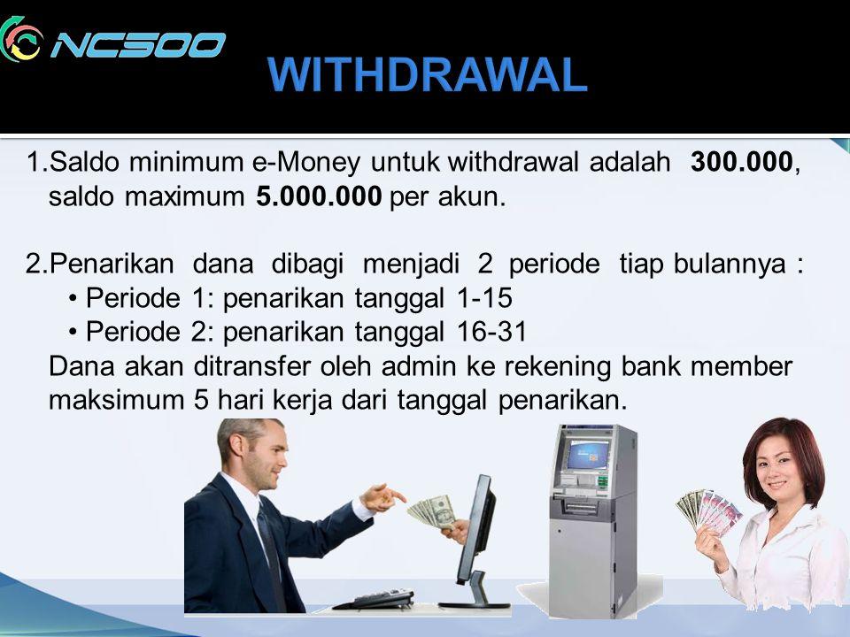 1.Saldo minimum e-Money untuk withdrawal adalah 300.000, saldo maximum 5.000.000 per akun. 2.Penarikan dana dibagi menjadi 2 periode tiap bulannya : P