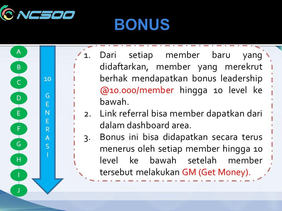 A B C D E F G H I J 10 G E N E R A S I 1.Dari setiap member baru yang didaftarkan, member yang merekrut berhak mendapatkan bonus leadership @10.000/me