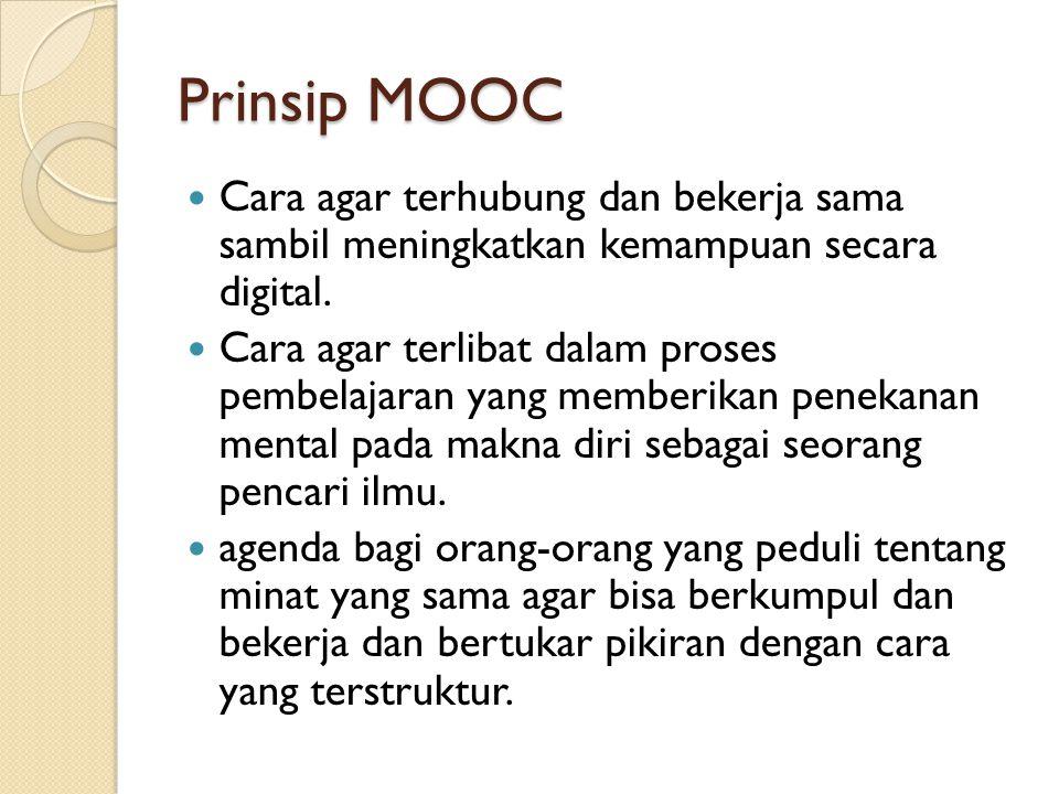 Prinsip MOOC Cara agar terhubung dan bekerja sama sambil meningkatkan kemampuan secara digital. Cara agar terlibat dalam proses pembelajaran yang memb