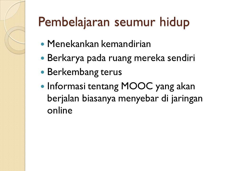 Pembelajaran seumur hidup Menekankan kemandirian Berkarya pada ruang mereka sendiri Berkembang terus Informasi tentang MOOC yang akan berjalan biasany