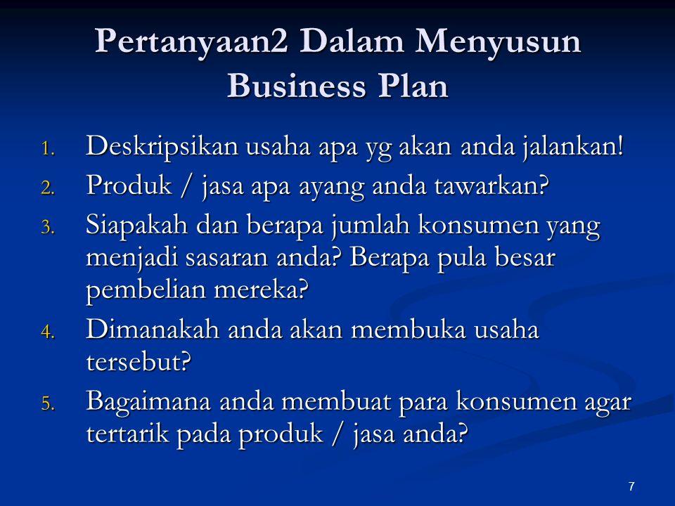 7 Pertanyaan2 Dalam Menyusun Business Plan 1.Deskripsikan usaha apa yg akan anda jalankan.