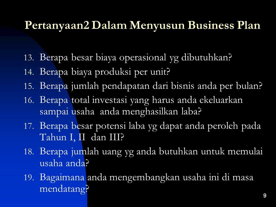 8 Pertanyaan2 Dalam Menyusun Business Plan 6. Persaingan seperti apa yg anda hadapi? 7. Berapa harga jual produk anda tersebut? 8. Nasihat apakah yg a