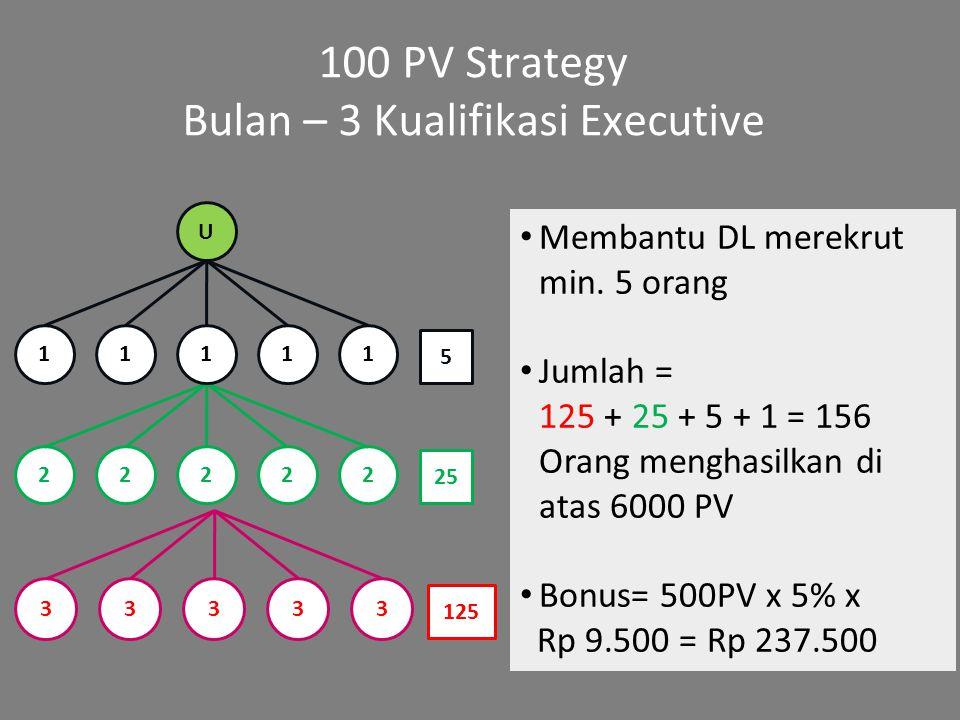 100 PV Strategy Bulan – 3 Kualifikasi Executive Membantu DL merekrut min. 5 orang Jumlah = 125 + 25 + 5 + 1 = 156 Orang menghasilkan di atas 6000 PV B