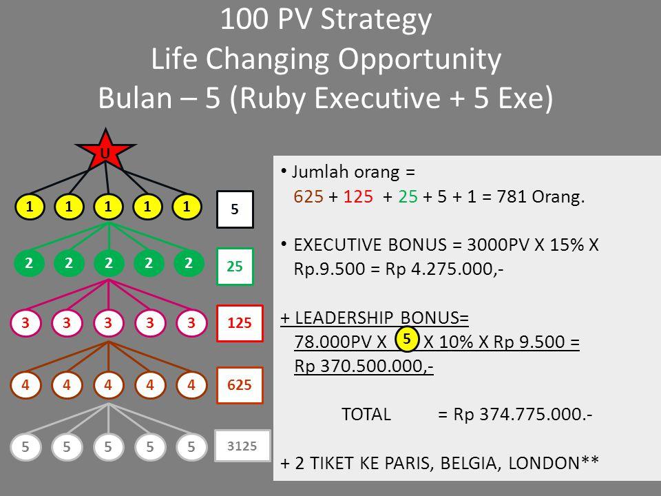 100 PV Strategy Bulan – 6 [Ruby/5 Star Creator] (5 Ruby + 25 Exe) Jumlah orang = 625 + 125 + 25 + 5 + 1 = 781 Orang.