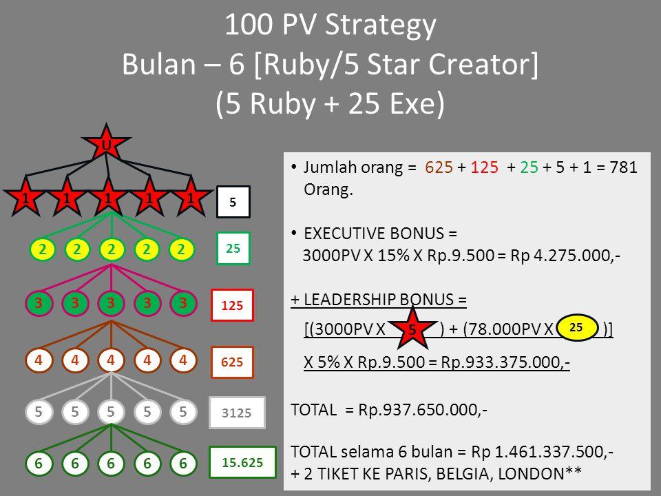 100 PV Strategy Bulan – 6 [Ruby/5 Star Creator] (5 Ruby + 25 Exe) Jumlah orang = 625 + 125 + 25 + 5 + 1 = 781 Orang. EXECUTIVE BONUS = 3000PV X 15% X