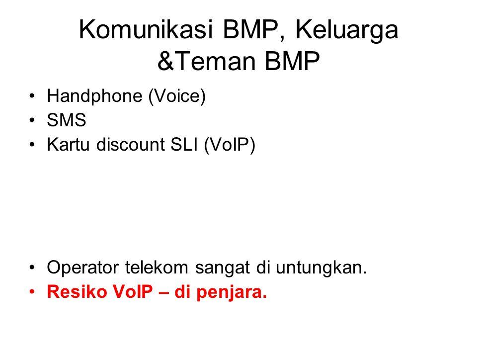 Komunikasi BMP, Keluarga &Teman BMP Handphone (Voice) SMS Kartu discount SLI (VoIP) Operator telekom sangat di untungkan.