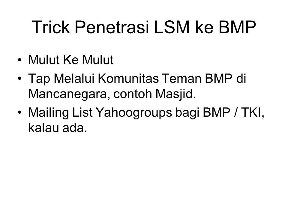 Trick Penetrasi LSM ke BMP Mulut Ke Mulut Tap Melalui Komunitas Teman BMP di Mancanegara, contoh Masjid.