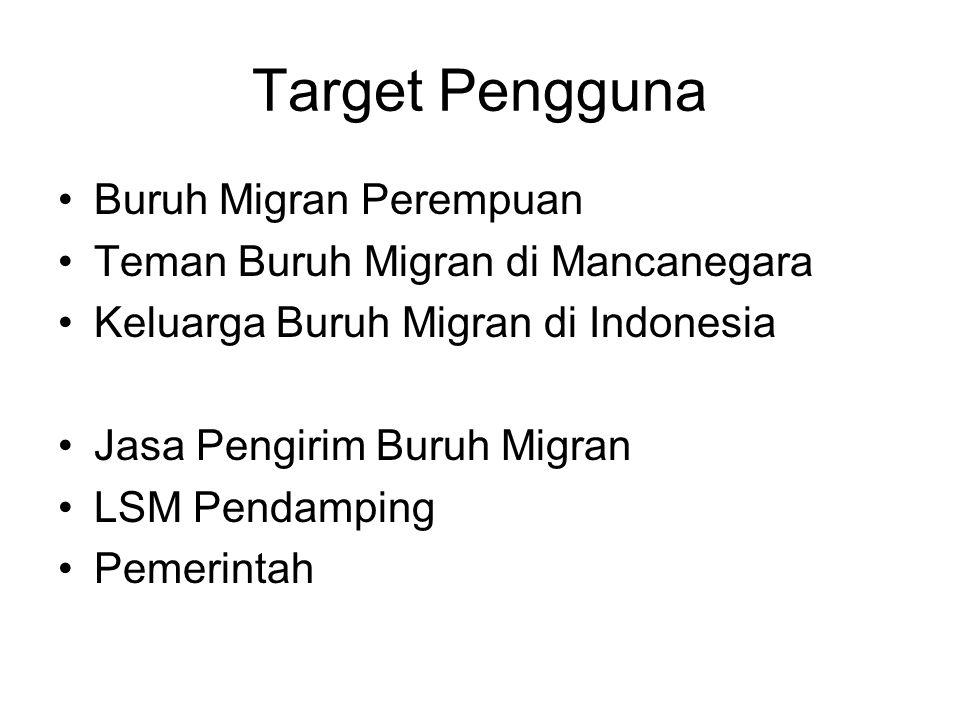 Target Pengguna Buruh Migran Perempuan Teman Buruh Migran di Mancanegara Keluarga Buruh Migran di Indonesia Jasa Pengirim Buruh Migran LSM Pendamping Pemerintah
