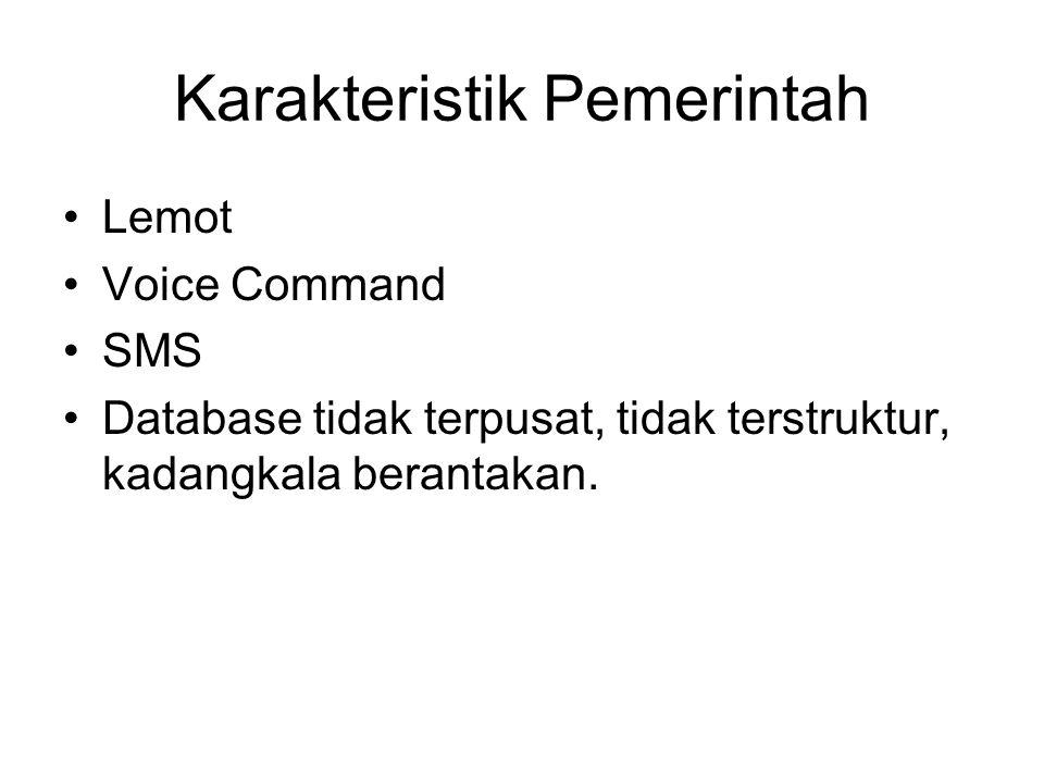 Karakteristik Pemerintah Lemot Voice Command SMS Database tidak terpusat, tidak terstruktur, kadangkala berantakan.