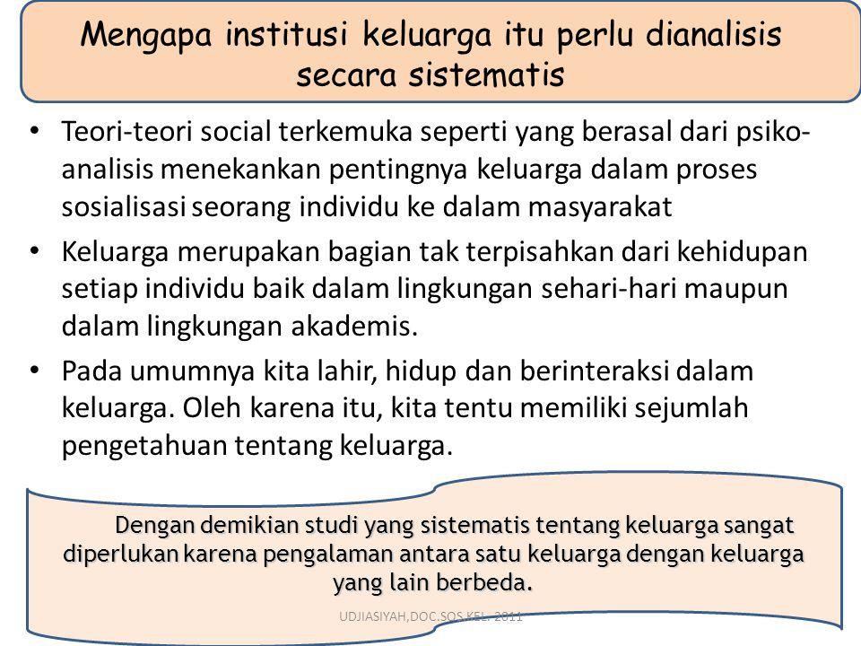Mengapa institusi keluarga itu perlu dianalisis secara sistematis Teori-teori social terkemuka seperti yang berasal dari psiko- analisis menekankan pe
