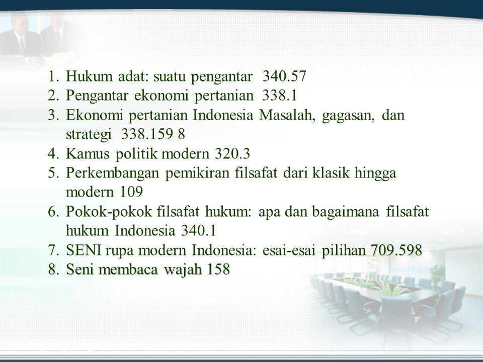 Company Logo 1. 1.Hukum adat: suatu pengantar 340.57 2. 2.Pengantar ekonomi pertanian 338.1 3. 3.Ekonomi pertanian Indonesia Masalah, gagasan, dan str