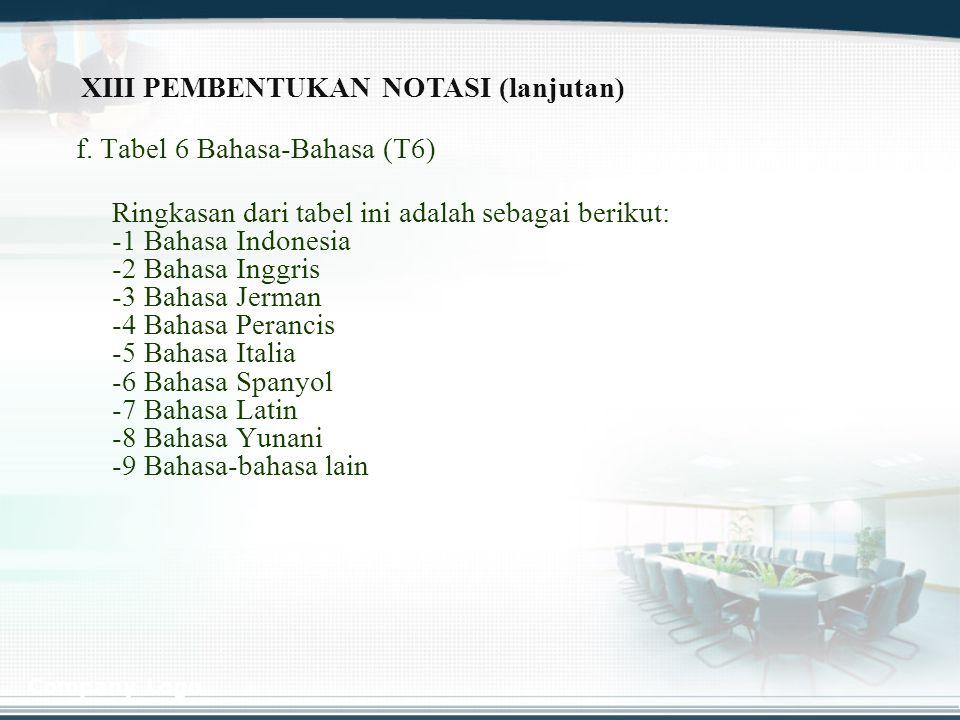 Company Logo f. Tabel 6 Bahasa-Bahasa (T6) Ringkasan dari tabel ini adalah sebagai berikut: -1 Bahasa Indonesia -2 Bahasa Inggris -3 Bahasa Jerman -4