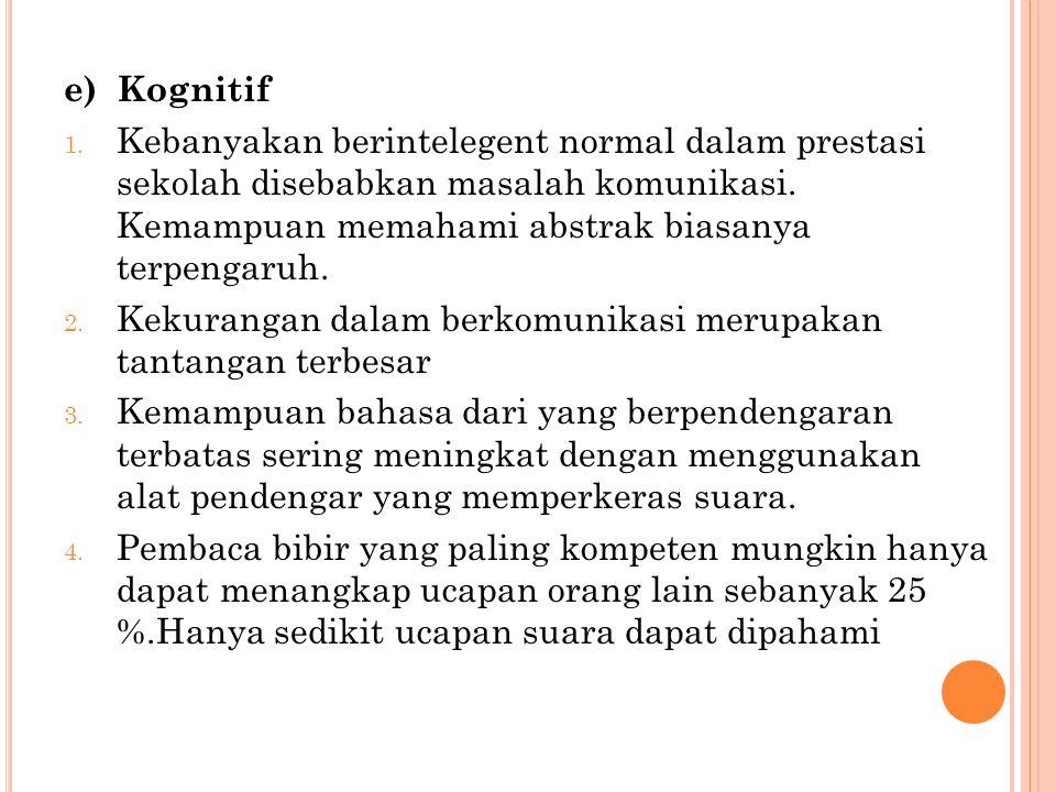 f) Afektif 1.Cenderung kesepian, menutup diri dari dunia luar.